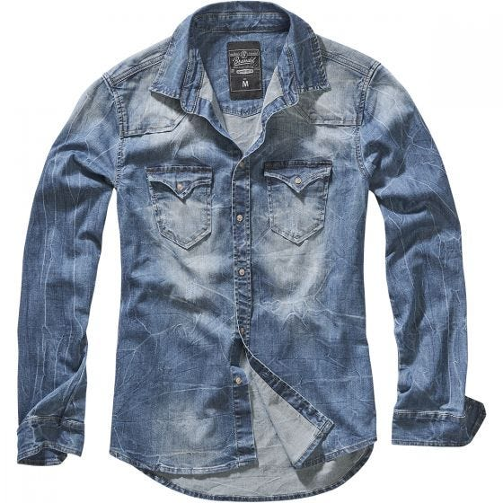 Brandit Riley Jeanshemd Denim Blue