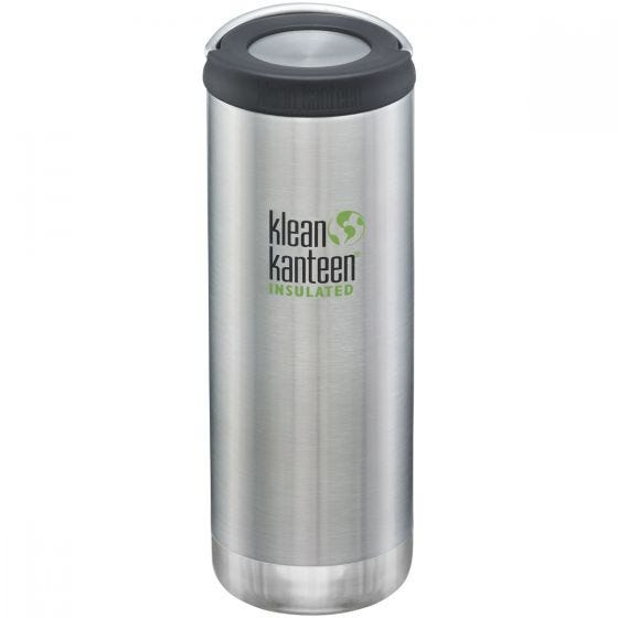 Klean Kanteen TKWide 473 ml Isolierte Trinkflasche mit Loop Cap Brushed Stainless