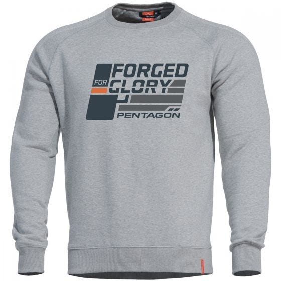 "Pentagon Hawk Sweatshirt mit Aufschrift ""Forged for Glory"" Melange"