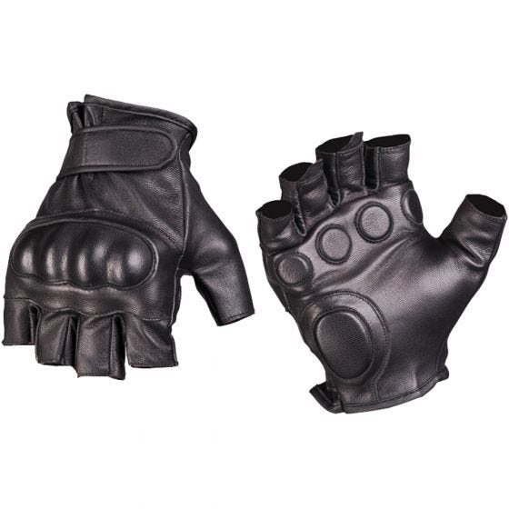 Mil-Tec Einsatz-Halbfingerhandschuhe aus Leder Schwarz