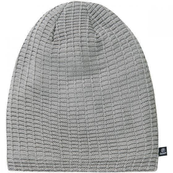 Brandit John Beanie-Mütze mit Ajour-Strick Silbergrau Melange