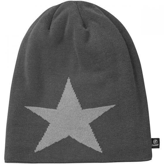 Brandit Star Cap Beanie-Mütze mit Stern Anthracite Melange