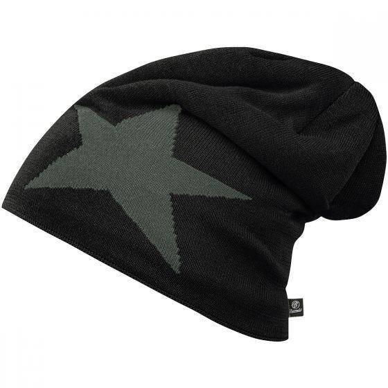 Brandit Star Cap Beanie-Mütze mit Stern Schwarz