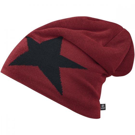 Brandit Star Cap Beanie-Mütze mit Stern Weinrot