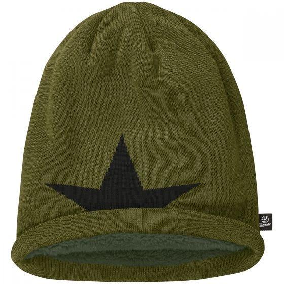 Brandit Star Cap Beanie-Mütze mit Stern Olivgrün