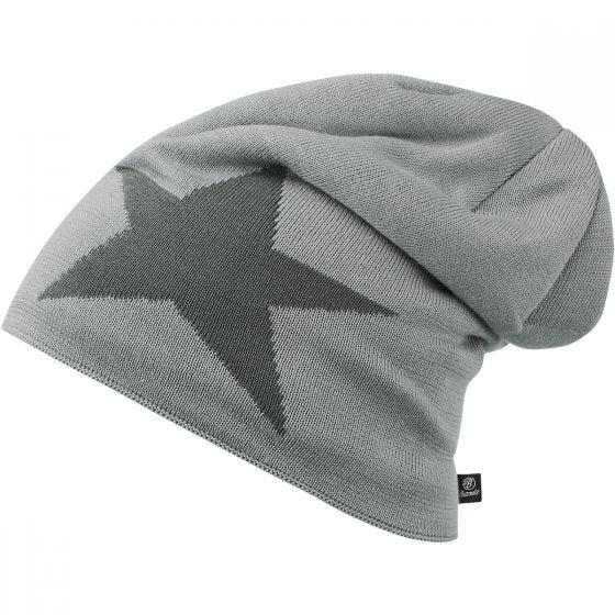Brandit Star Cap Beanie-Mütze mit Stern Silbergrau Melange