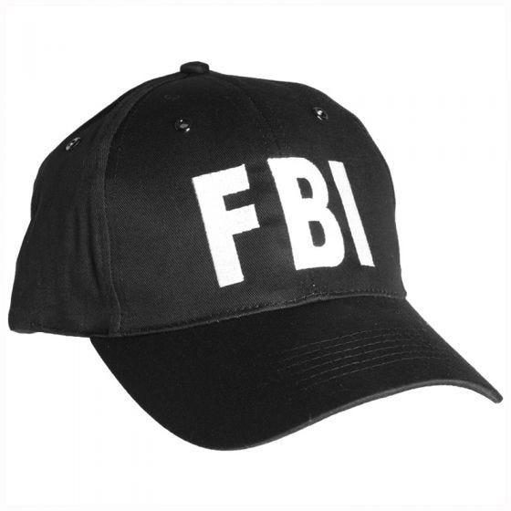 Mil-Tec Basecap mit FBI-Schriftzug & Kunststoffverschluss Schwarz