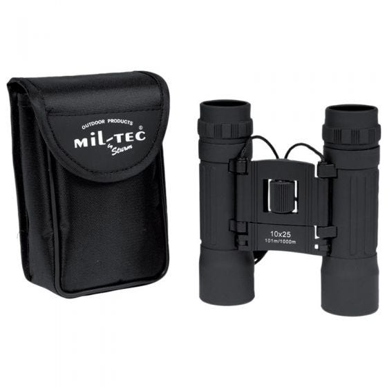 Mil-Tec 10x25 Klappbares Fernglas Schwarz