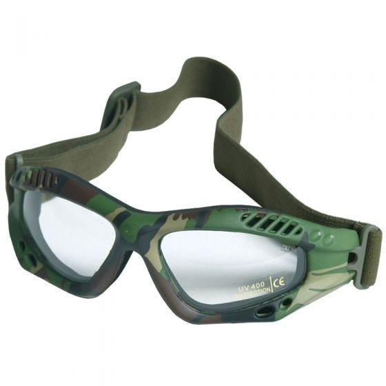 Mil-Tec Commando Air Pro Schutzbrille Gläser Transparent Gestell Woodland