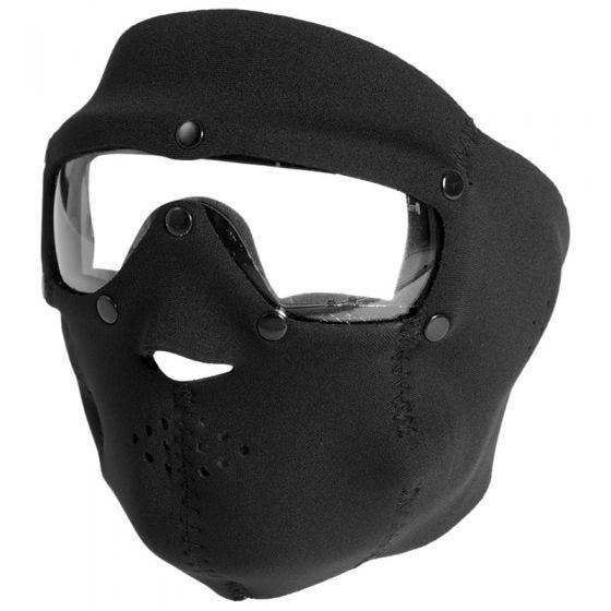 Swiss Eye Neopren-Gesichtsmaske in Schwarz mit integrierter Schutzbrille + Gläsern in Klar