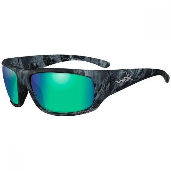 Wiley X WX Omega Brille - Polarisierte, verspiegelte Gläser in Smaragdgrün / Gestell in Kryptek Neptune