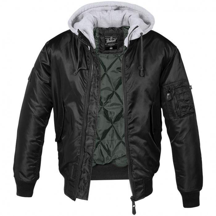 Brandit MA1 Sweat Hooded Jacket Black/Grey