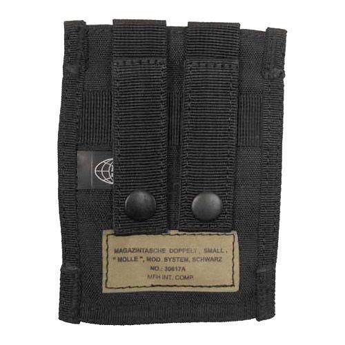 MFH 9mm Kleine Doppel-Magazintasche mit MOLLE-Befestigungssystem Schwarz