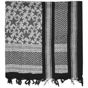 Mil-Tec Shemagh-Tuch mit Stern-Motiven Schwarz / Weiß