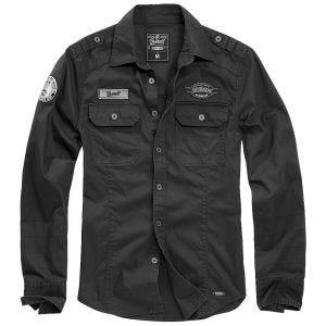 Brandit Luis Vintage Shirt mit Aufnähern - Schwarz