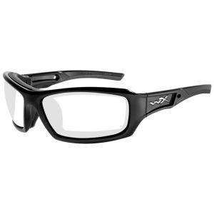 Wiley X WX Echo Schutzbrille - Gläser in Transparent / glänzend schwarzes Gestell