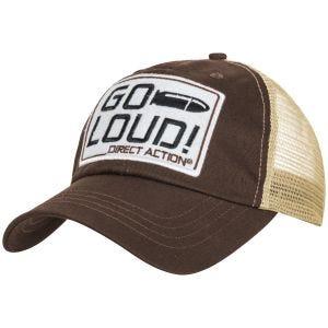 """Direct Action Trucker Cap mit Aufschrift """"GO LOUD!"""" Braun"""