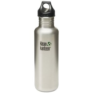 Klean Kanteen Classic 800 ml Trinkflasche mit Loop Cap Brushed Stainless