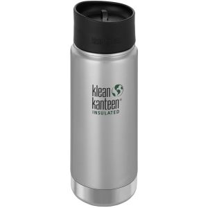 Klean Kanteen Wide Insulated 473 ml Trinkflasche mit Café Cap 2.0 Brushed Stainless