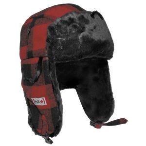 Fox Outdoor Holzfällermütze mit Kunstfell Rot / Schwarz
