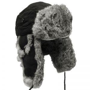 MFH Wintermütze Schwarz mit grauem Kaninchenfell