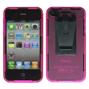 Nize Ize Connect Case Hülle mit Cliphalterung für iPhone 4/4S transparentes Pink