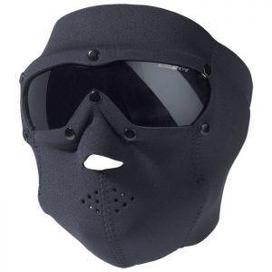 Swiss Eye Neopren-Gesichtsmaske in Schwarz mit integrierter Schutzbrille + Gläsern in Smoke
