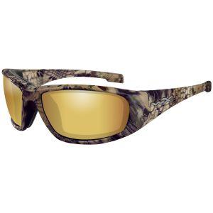 Wiley X WX Boss Brille - Polarisierte und verspiegelte Gläser in Venice Gold / Gestell in Kryptek Highlander