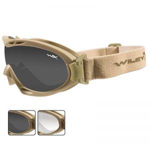 Wiley X Nerve Schutzbrille - Gläser in Smoke Grey + Transparent / Gestell in Tan