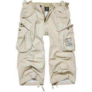 Brandit Industry Vintage Shorts mit 3/4-Bein Beige Pinstripe