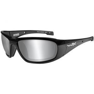 Wiley X WX Boss Brille - Gläser in Smoke Grey Silver Flash / glänzend schwarzes Gestell