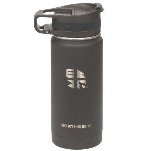 Earthwell Roaster Vakuum-Trinkflasche mit Befestigungsvorrichtung 473 ml Volcanic Black