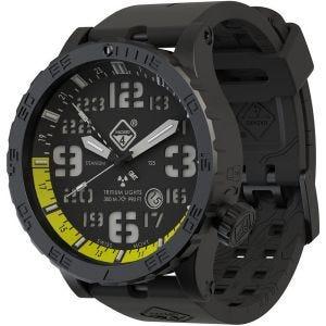 Hazard 4 Heavy Water Diver Titanium Nightwatch GMT-Armbanduhr mit Tritium-Lichtquelle Gelb/Grün/Gelb