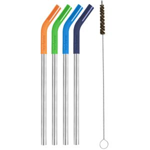 Klean Kanteen Steel Straws with Cleaning Brush Set of 4 Multi Colour
