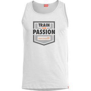 """Pentagon Astir Ärmelloses Top mit Aufschrift """"Train Your Passion"""" Weiß"""
