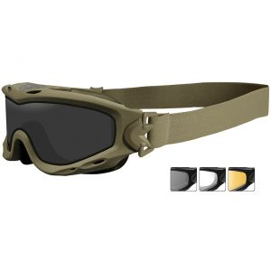 Wiley X Spear Schutzbrille - Monoglas in Smoke Grey + Transparent + Light Rust / Gestell in Matte Tan